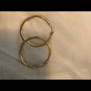 """Stella and Dot 2"""" gold hoops with diamonds"""